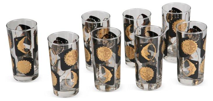 Sun & Moon Highball Glasses, Set of 8