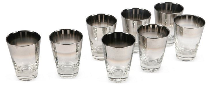 Silver Ombre Sherry Glasses, Set of 8