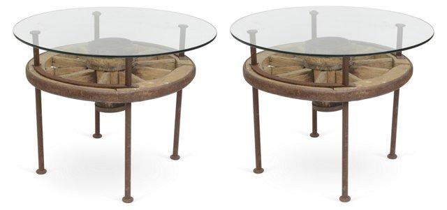 Wagon-Wheel Tables, Pair