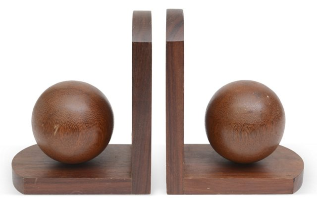 Wood Ball Bookends, Pair