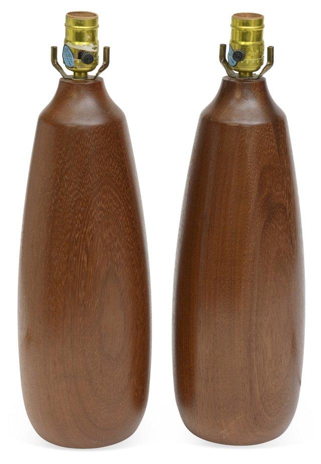 Wood Base Lamps, Pair
