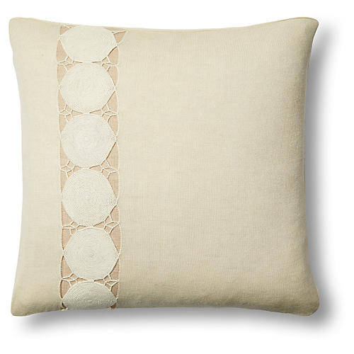 Paya 24x24 Crochet Sham, Cream