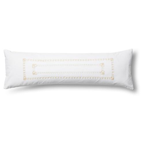 Neama Rectangular Pillow, Cream/White