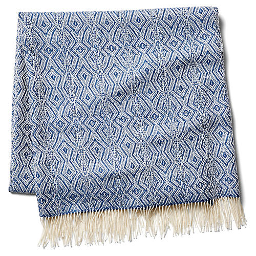 Colca Alpaca Throw, Indigo/Cream