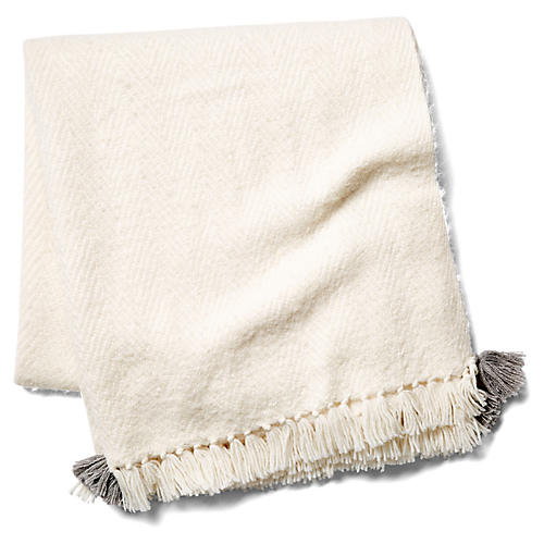 Tuktu Alpaca-Blend Throw, Silver/White