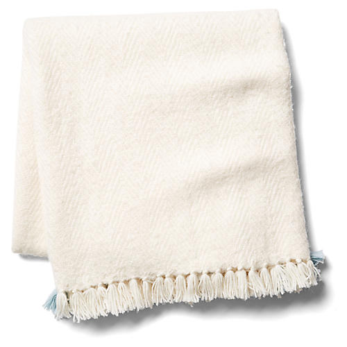 Tuktu Alpaca-Blend Throw, Seaglass/White
