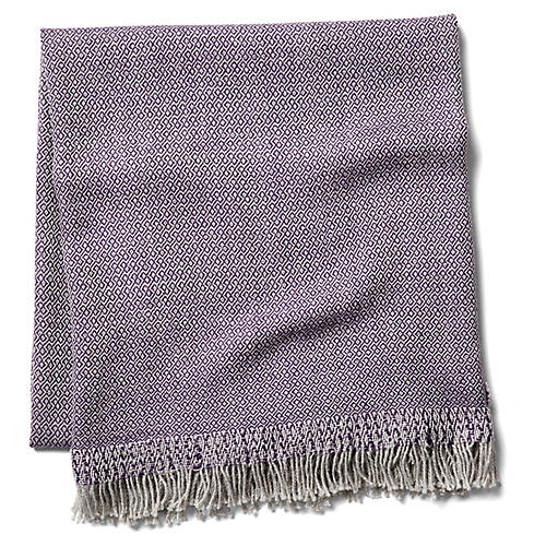 Chuspi Alpaca Throw, Lavender/Cream