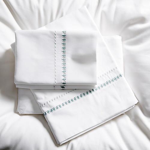 Neama Sheet Set, Sea Glass/White