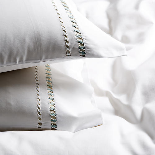 S/2 Neama Pillowcases, Sea Glass/White