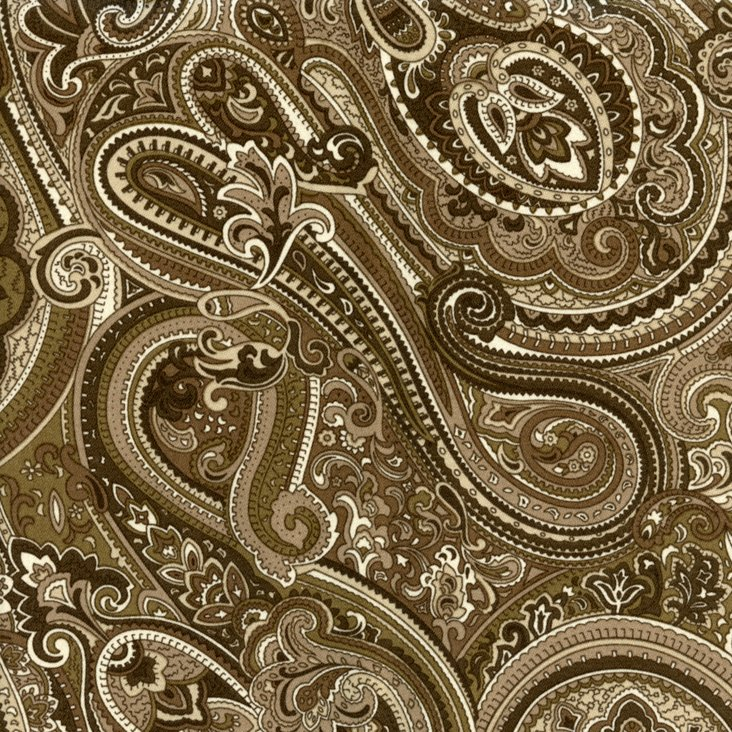 Paisley Cotton Fabric, Brown