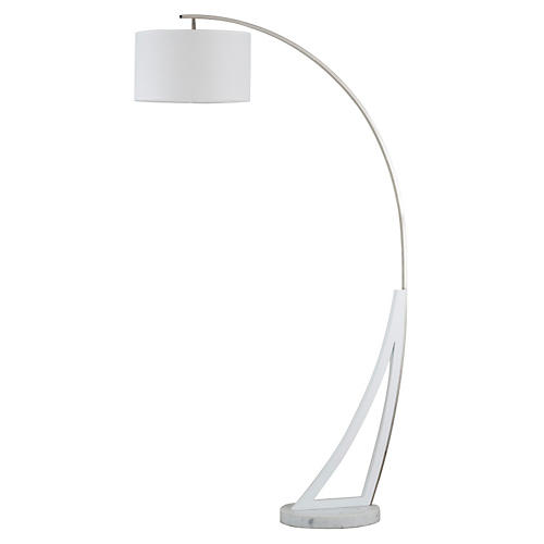 Swan Arc Floor Lamp, Marble/Chrome