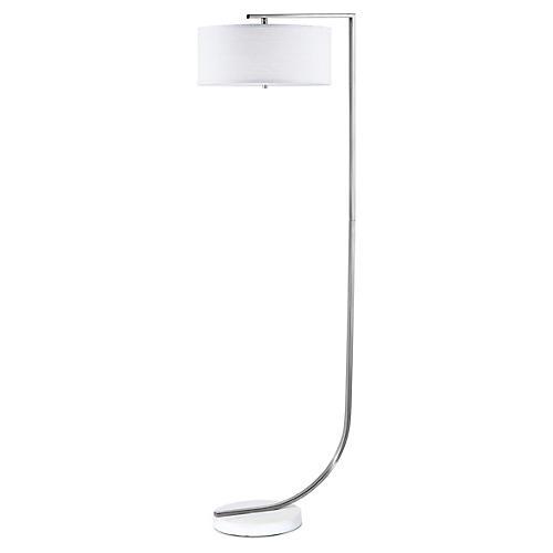 Library Floor Lamp, Nickel/White