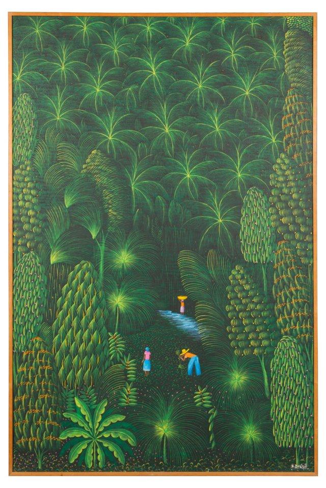Acrylic Painting, Haitian Farm Scene