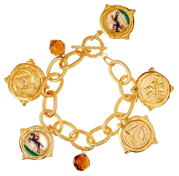 Hand-Painted Equestrian Charm Bracelet
