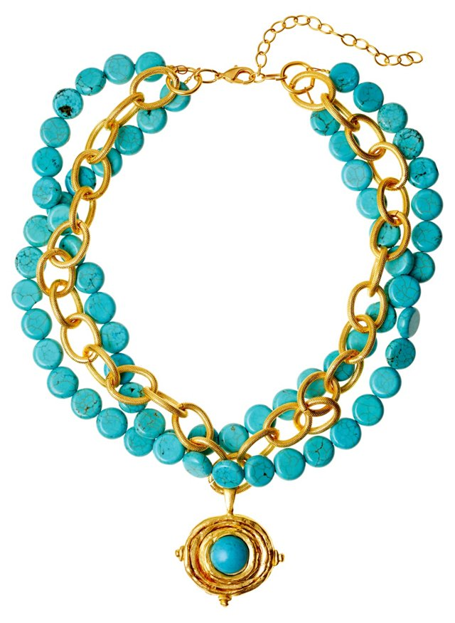 Turquoise & Gold-Plated Link Necklace
