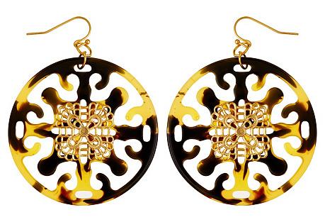 Round Tortoise Filigree Earrings