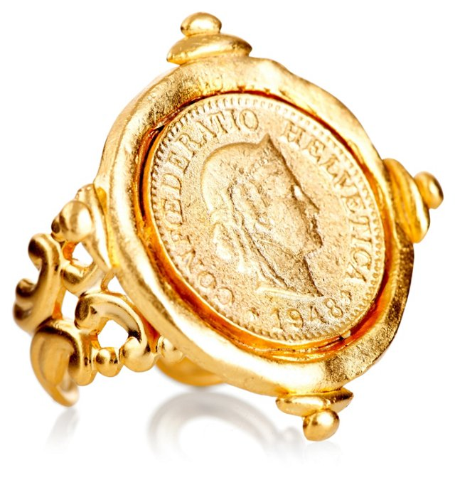 Hand-Cast Swiss Coin Ring