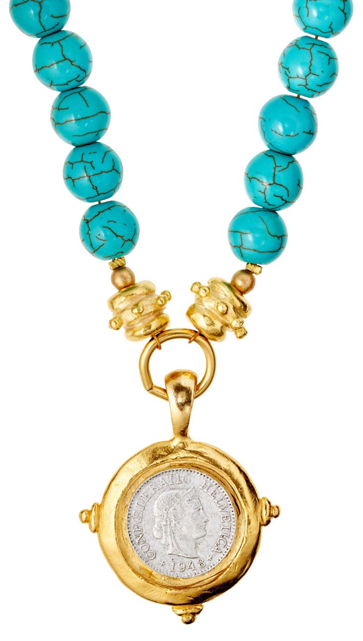 Roman Coin on Turquoise Necklace