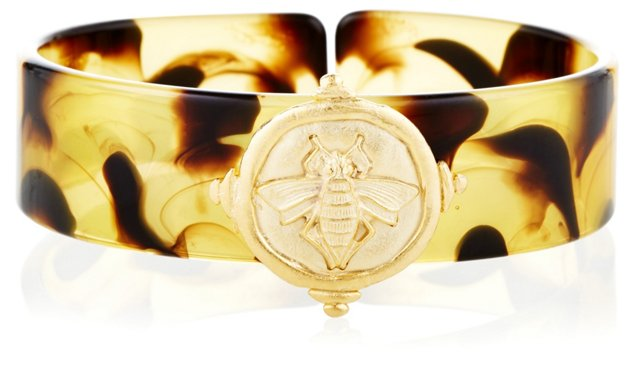 Hand-Cast Gold Bee Tortoise Cuff