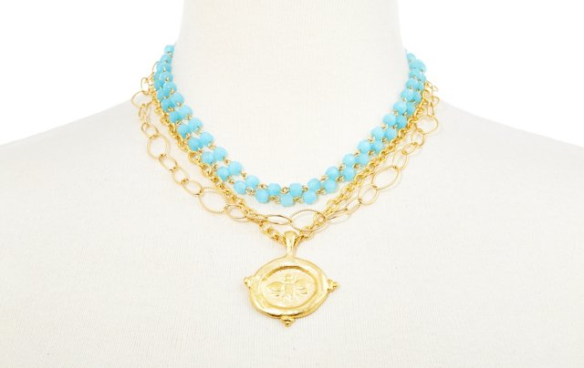 Bee Charm on Link Necklace, Blue
