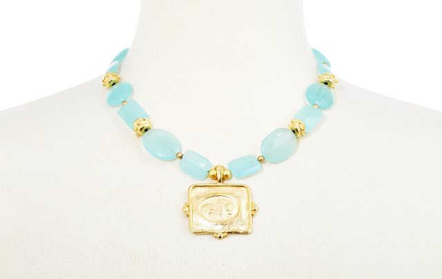 Hand-Cast Bee & Aqua Quartz Necklace