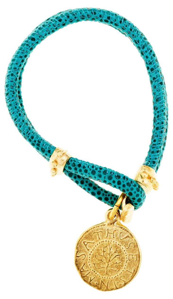 Leather w/ Coin Bracelet, Blue