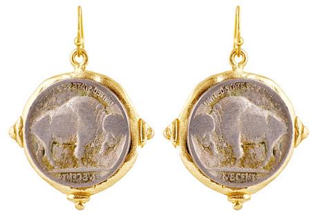 Hand-Cast Buffalo Earrings