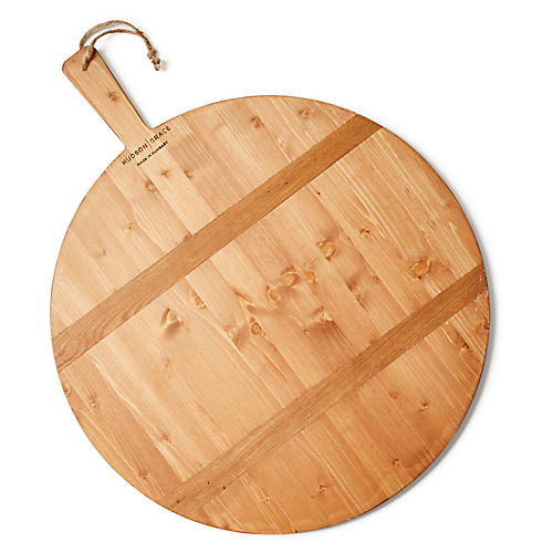 Large Round Pizza Board, Natural Wood