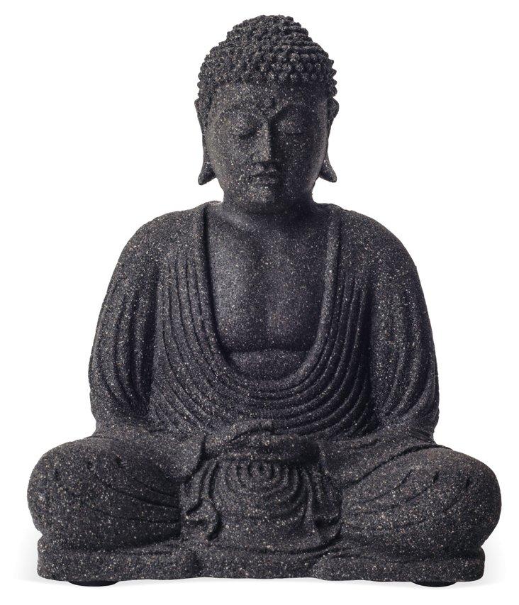 """9"""" Volcanic Ash Meditating Buddha, Black"""