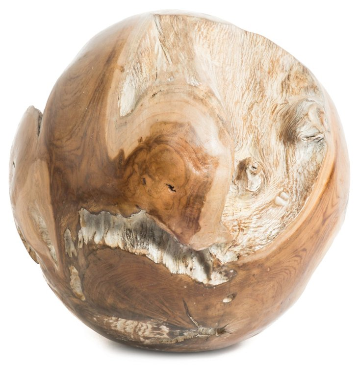 "12"" Teak Philosopher's Globe, Natural"