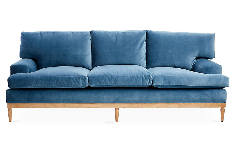 Sutton Sofa, Harbor Blue Velvet