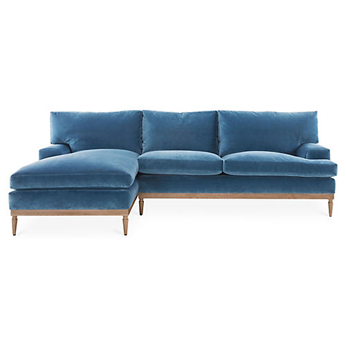 Sutton Left-Facing Sectional, Harbor Blue Velvet