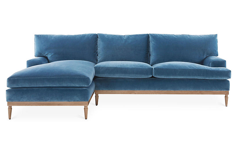 Sutton LF Sectional, Harbor Blue Velvet