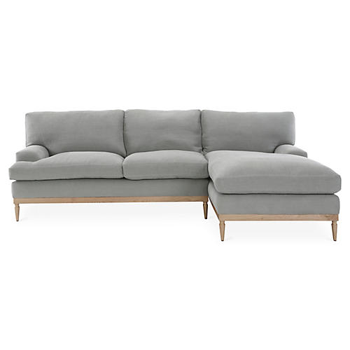 Sutton Right-Facing Sectional, Light Gray Linen