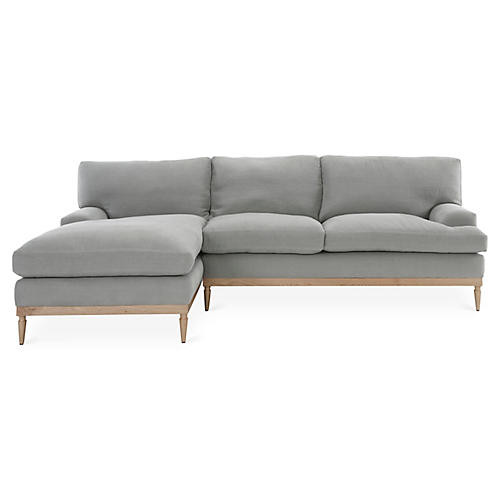 Sutton Left-Facing Sectional, Light Gray Linen