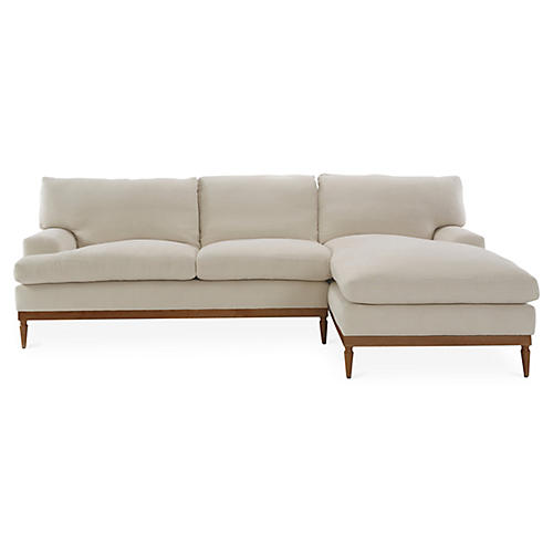 Sutton Right-Facing Sectional, Bisque Linen