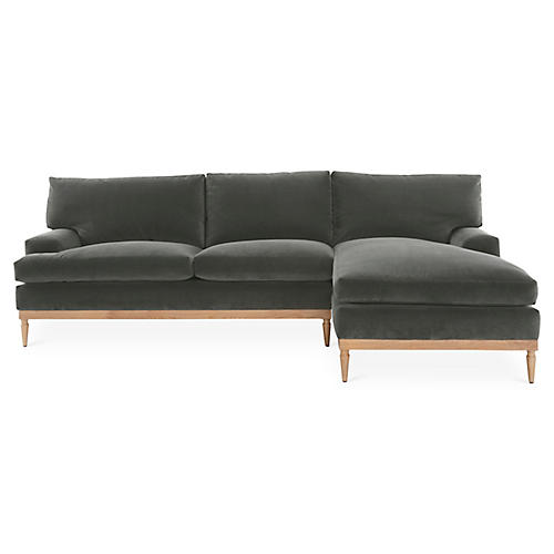 Sutton Right-Facing Sectional, Graphite Velvet