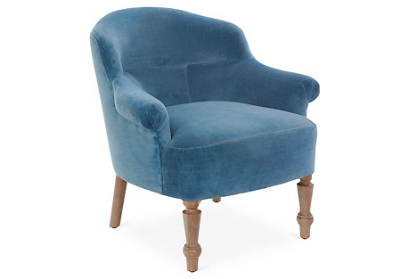 Surrey Accent Chair, Harbor Blue Velvet