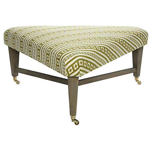 Spencer Cocktail Ottoman, Curry Stripe