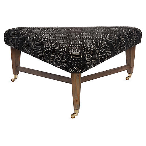 Spencer Cocktail Ottoman, Black/White Mudcloth