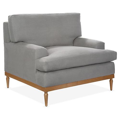 Sutton Club Chair, Light Gray Linen