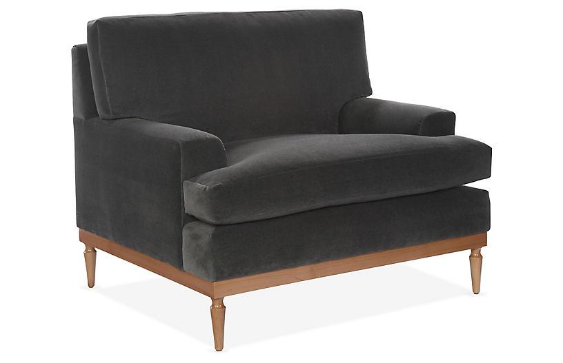 Sutton Club Chair, Graphite Velvet