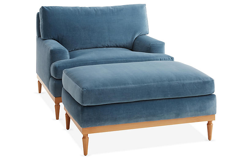 Sutton Club Chair & Ottoman Set, Harbor Blue