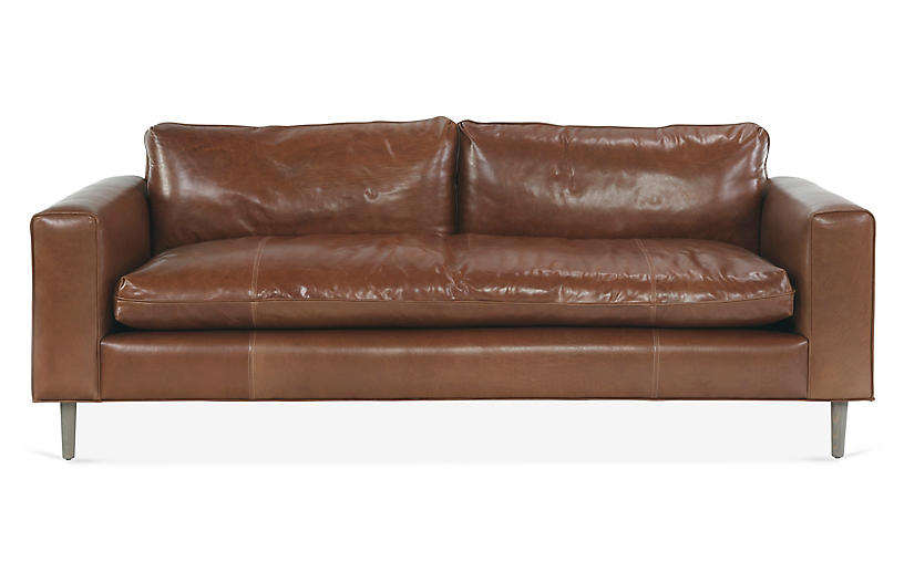 Rumsey Sofa, Caramel Leather