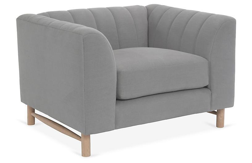 Alden Club Chair, Light Gray Linen