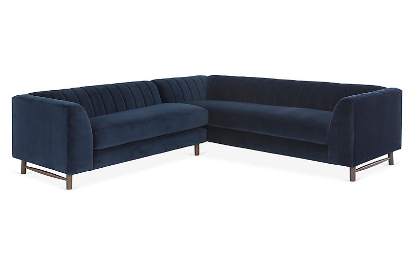 Alden Sectional, Navy Velvet
