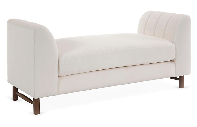 Alden Bench, White Linen