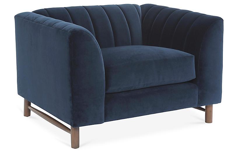 Alden Club Chair, Navy Velvet