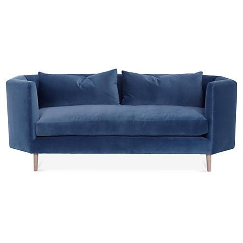 Blythe Sofa, Harbor Blue Velvet