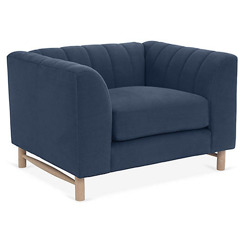 Alden Club Chair, Navy Linen